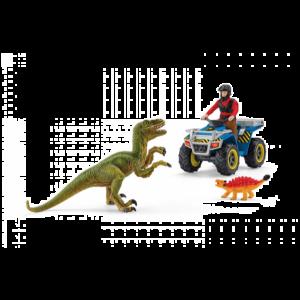 Schleich Dinosaurus 41466 Ontsnappen op de quad voor velociraptor
